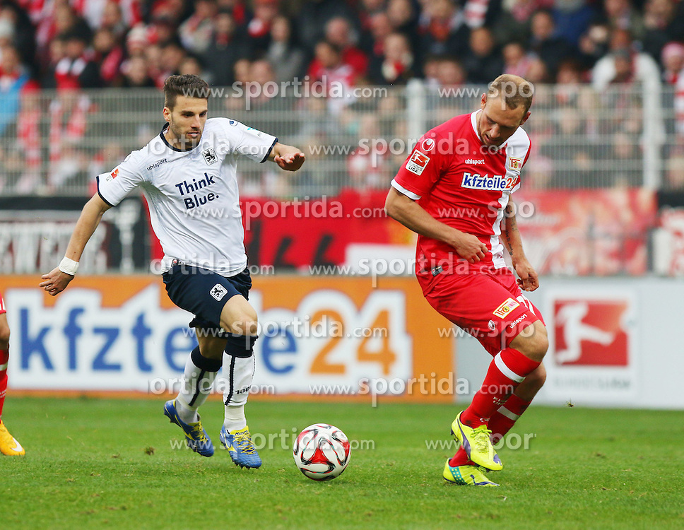 22.11.2014, Alte F&ouml;rsterei, Berlin, GER, 2. FBL, 1. FC Union Berlin vs TSV 1860 Muenchen, 14. Runde, im Bild Valdet Rama (TSV 1860 Muenchen) laesst Eroll Zejnullahu (1. FC Union Berlin) aussteigen // SPO during the 2nd German Bundesliga 14th round match between 1. FC Union Berlin and TSV 1860 Muenchen at the Alte F&ouml;rsterei in Berlin, Germany on 2014/11/22. EXPA Pictures &copy; 2014, PhotoCredit: EXPA/ Eibner-Pressefoto/ Hundt<br /> <br /> *****ATTENTION - OUT of GER*****