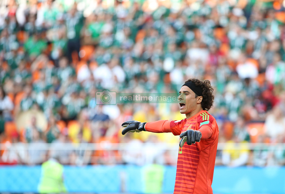 YEKATERINBURG, June 27, 2018  Goalkeeper Guillermo Ochoa of Mexico reacts during the 2018 FIFA World Cup Group F match between Mexico and Sweden in Yekaterinburg, Russia, June 27, 2018. (Credit Image: © Li Ming/Xinhua via ZUMA Wire)