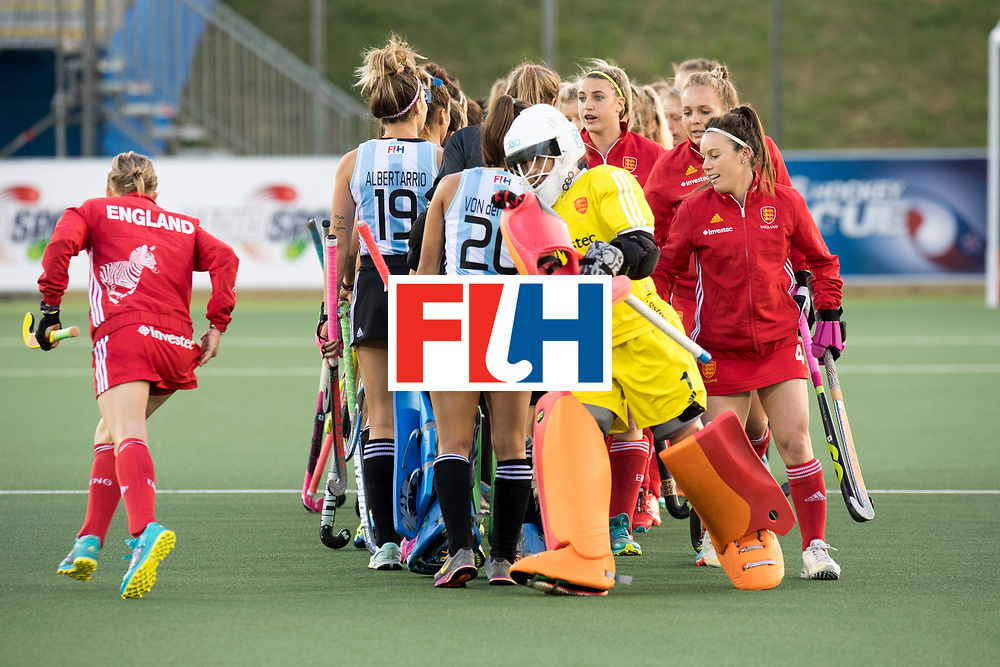 AUCKLAND - Sentinel Hockey World League final women<br /> Match id 10298<br /> 08 Argentina v England <br /> Foto: Line up England. <br /> WORLDSPORTPICS COPYRIGHT FRANK UIJLENBROEK