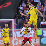 Aaron Schoenfeld, Columbus Crew, in action during the New York Red Bulls Vs Columbus Crew, Major League Soccer regular season match at Red Bull Arena, Harrison, New Jersey. USA. 19th October 2014. Photo Tim Clayton