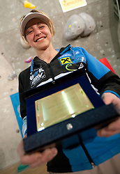 Overall lead third placed  Angela Eiter of Austria at Trophy ceremony during Final IFSC World Cup Competition in sport climbing Kranj 2010, on November 14, 2010 in Arena Zlato polje, Kranj, Slovenia. (Photo By Vid Ponikvar / Sportida.com)