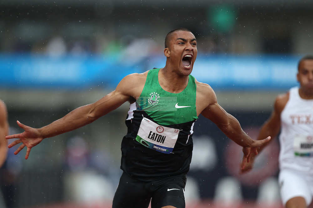 Ashton Easton celebrates after winning his heat for the 100m dash for a new world record during the Decathlon during day 1 of the U.S. Olympic Trials for Track & Field at Hayward Field in Eugene, Oregon, USA 22 Jun 2012..(Jed Jacobsohn/for The New York Times)....