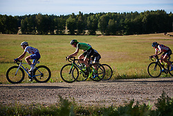 Riejanne Markus (NED) crosses the first gravel sector at Postnord Vårgårda West Sweden Road Race 2018, a 141 km road race in Vårgårda, Sweden on August 13, 2018. Photo by Sean Robinson/velofocus.com
