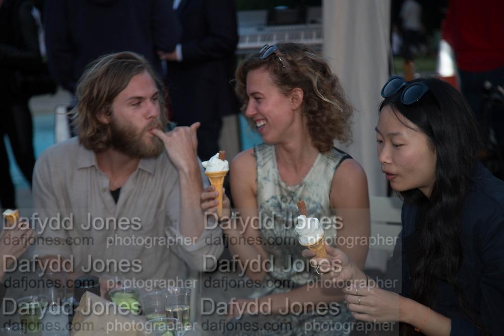 DREW WHEELER; POPPY FRANCE-HAUGHTON; CHI-SAN WAN,  CHARLES FINCH'S CHUCS SWIMATHON 2013, SERPENTINE, Hyde Park, London. 4 July 2013.