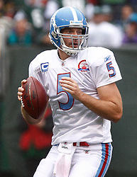Sept 27, 2009; East Rutherford, NJ, USA; Tennessee Titans quarterback Kerry Collins (5) throws a pass during the first half of their game against the New York Jets at Giants Stadium.
