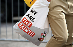 Close up of a official Southampton Shop bag before the game