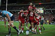 Reds celebrate the win. Queensland Reds v NSW Waratahs. Investec Super Rugby Round 10 Match, 24 April 2011. Suncorp Stadium, Brisbane, Australia. Reds won 19-15. Photo: Clay Cross / photosport.co.nz