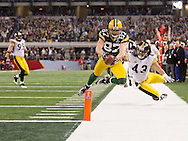 ARLINGTON, TX - FEBRUARY 06: Jordy Nelson #87 of the Green Bay Packers dives for the endzone against the Pittsburgh Steelers during Super Bowl XLV at Cowboys Stadium on February 6, 2011 in Arlington, Texas. The Packers defeated the Steelers 31-25. (AP Photo/Tom Hauck)