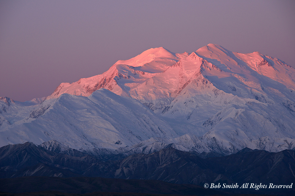 Sunrise alpenglow on Mt McKinley