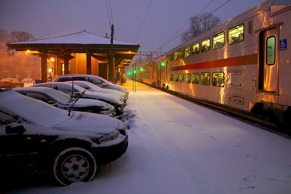 Passengers on a New York bound train leave the driving to NJ Transit.