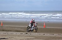 Racing in the Burt Munro challenge on Oreti Beach, made famous in the film The World's Fastest Indian.