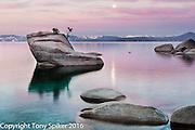 """Bonsai Rock Sunrise 3"" - A winter sunrise over Lake Tahoe at Bonsai Rock"