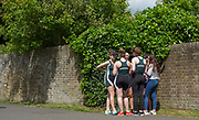 Maidenhead. Berkshire. United Kingdom. <br /> <br /> Women's junior four, confer, between races. 2017 Maidenhead Junior Regatta  River Thames. <br /> <br /> [©Peter SPURRIER/Intersport Images] Sunday. 14.05.2017