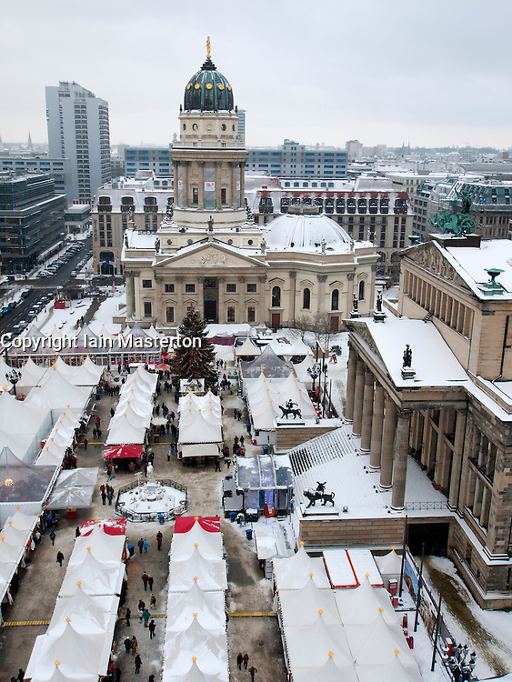 View of annual Christmas market at Gendarmenmarkt in Mitte Berlin Germany