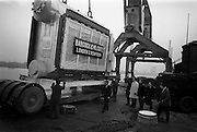 18/12/1965<br /> 12/18/1965<br /> 18 November 1965<br /> <br /> 53 Tons of Waste heat boiler for the sulphuric acid plan at the new Goulding Fertiliser Complex being loaded on to a lorry after its arrival in Dublin<br /> <br /> Also Pictured, Mr. Edwin Bird; Mr. Roger Kagan; Mr. Joseph Nevin; Mr. Gohn Barnes