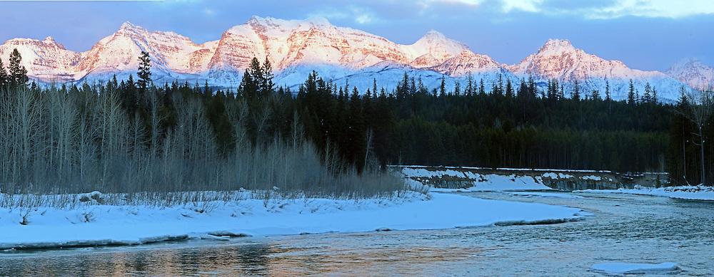 North Fork Flathead River and the Livingston Range in winter. Glacier National Park, northwest Montana.