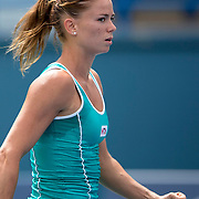 August 16, 2014, New Haven, CT:<br /> Camila Giorgi reacts after defeating Coco Vandeweghe on day three of the 2014 Connecticut Open at the Yale University Tennis Center in New Haven, Connecticut Sunday, August 17, 2014.<br /> (Photo by Billie Weiss/Connecticut Open)