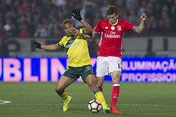 March 18, 2017 - Pacos De Ferreira, Pacos Ferreira, Portugal - Pacos Ferreira's Brazilian forward Welthon (L) with Benfica's Swedish defender Victor Lindelof (R) during the Premier League 2016/17 match between Pacos Ferreira and SL Benfica, at Mata Real Stadium in Pacos de Ferreira on March 18, 2017. (Credit Image: © Dpi/NurPhoto via ZUMA Press)