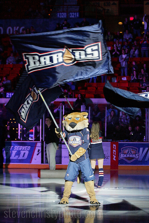 April 20, 2013: The Oklahoma City Barons play the Abbotsford Heat in an American Hockey League game at the Cox Convention Center in Oklahoma City.