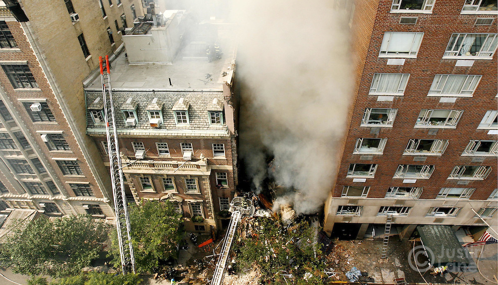 A view of the remains of building on the Upper West Side of Manhattan destroyed by a man attempting to commit suicide on Monday 10 July 2006.
