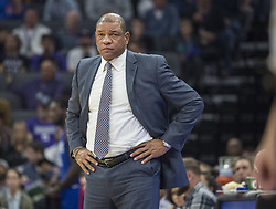 November 25, 2017 - Sacramento, CA, USA - Los Angeles Clippers head coach Doc Rivers reacts as his team trails the Sacramento Kings in the first half on Saturday, Nov. 25, 2017, at Golden 1 Center in Sacramento, Calif. (Credit Image: © Hector Amezcua/TNS via ZUMA Wire)