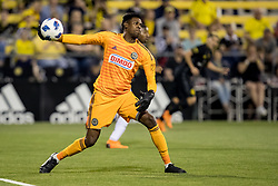 May 9, 2018 - Columbus, OH, U.S. - COLUMBUS, OH - MAY 09: Philadelphia Union goalkeeper Andre Blake (18) throws the ball into play in the MLS regular season game between the Columbus Crew SC and the Philadelphia Union on May 09, 2018 at Mapfre Stadium in Columbus, OH. The Crew won 1-0. (Photo by Adam Lacy/Icon Sportswire) (Credit Image: © Adam Lacy/Icon SMI via ZUMA Press)