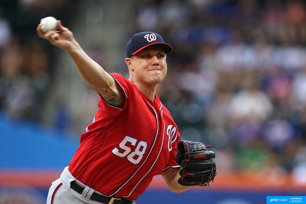 NEW YORK, NEW YORK - July 10: Pitcher Jonathan Papelbon #58 of the Washington Nationals pitching during the Washington Nationals Vs New York Mets regular season MLB game at Citi Field on July 10, 2016 in New York City. (Photo by Tim Clayton/Corbis via Getty Images)