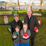 JP McManus and Paul O'Connell along with , Evelyn Ryan, 3rd class, and Alice Kennedy, 4th class, from Mary Queen of Ireland NS, Caherdavin, at the Hunt Museum Limerick, to launch the new TLC eco-friendly cups ahead of Team Limerick Clean-Up 5, which will see thousands of volunteers take to the streets of Limerick city and county for Europe's largest one-day clean up. Sponsored by the JP McManus Benevolent Fund, the event has seen over 360 tonnes of litter gathered from the streets since inception in 2015. Over 14,000 volunteers have already signed up for the 2019 event, taking place on Good Friday, 19th April. <br /> Photo by Diarmuid Greene