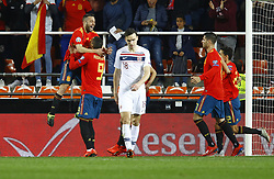 March 23, 2019 - Valencia, Community of Valencia, Spain - Spain's Rodrigo Moreno and Spain's Jordi Alba seen celebrating during the Qualifiers - Group B to Euro 2020 football match between Spain and Norway in Valencia, Spain. Spain beat Norway, 2-1 (Credit Image: © Manu Reino/SOPA Images via ZUMA Wire)