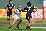 DUBAI, UNITED ARAB EMIRATES - Thursdays 30 November 2017, Megan Comley of South Africa tries to tackle Katarina Whata-Simpkins of New Zealand during HSBC Emirates Airline Dubai Rugby Sevens match between South Africa and New Zealand at The Sevens Stadium in Dubai.<br /> Photo by Roger Sedres/ImageSA