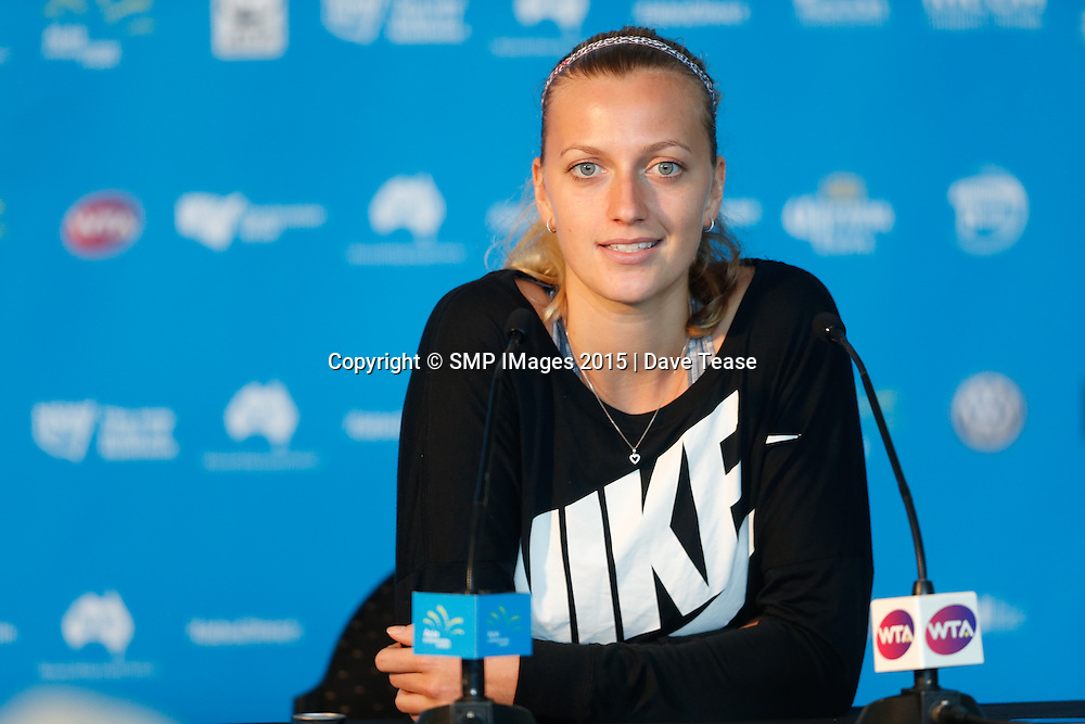 PHOTO: PETRA KVITOVA PRESS CONFERENCE  ..WET WEATHER TO BEGIN DAY ONE AT THE 2015 APIA SYDNEY INTERNATIONAL: PIC Dave Tease- SMP IMAGES.COM - 11 th January 2015