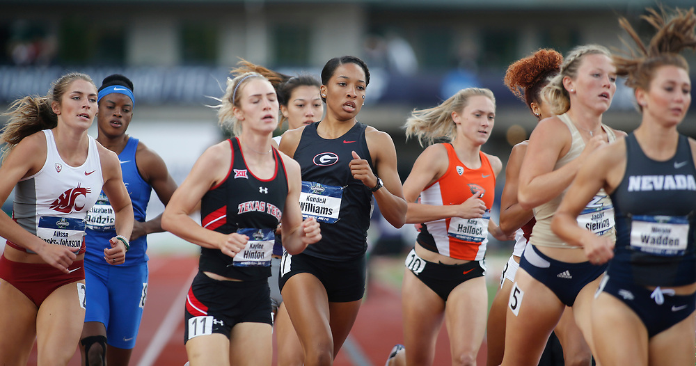 Georgia's Kendell Williams, center, competes in the heptathalon 1500 meters on the final day of the NCAA outdoor college track and field championships in Eugene, Ore., Saturday, June 10, 2017. Williams won the event with 6265 points. (AP Photo/Timothy J. Gonzalez)