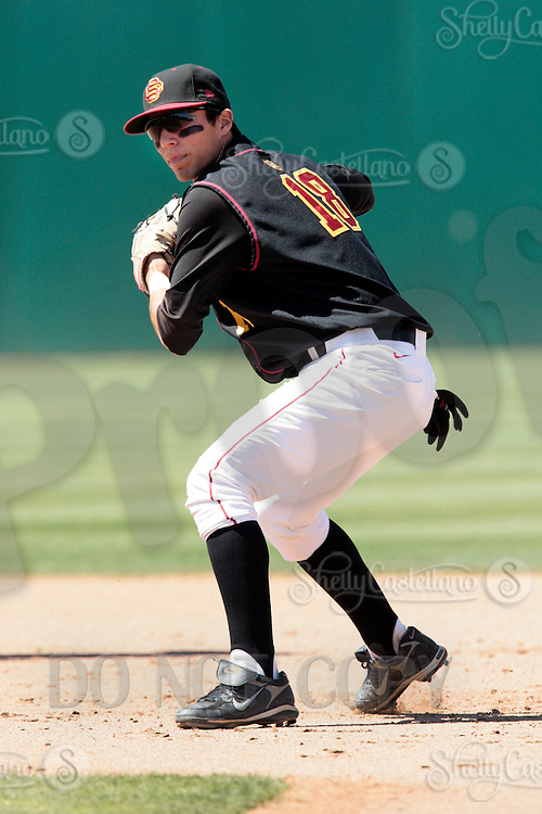 28 March 2009: Infielder #18 Ryan Bast of the USC Trojans Baseball team during a 10-1 loss to Arizona State Sun Devils at Dedeaux Field in Los Angeles.