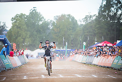 Manuel Fumic is happy with his second place in the UCI Mountainbike World Cup Pietermaritzburg 2014.