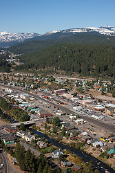 """Downtown Truckee Aerial 2"" - Downtown Truckee photographed from a small amphibious seaplane with the door removed."