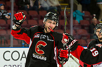 KELOWNA, CANADA - FEBRUARY 8: Cole Moberg #2 of the Prince George Cougars celebrates a first period goal against the Kelowna Rockets  on February 8, 2019 at Prospera Place in Kelowna, British Columbia, Canada.  (Photo by Marissa Baecker/Shoot the Breeze)