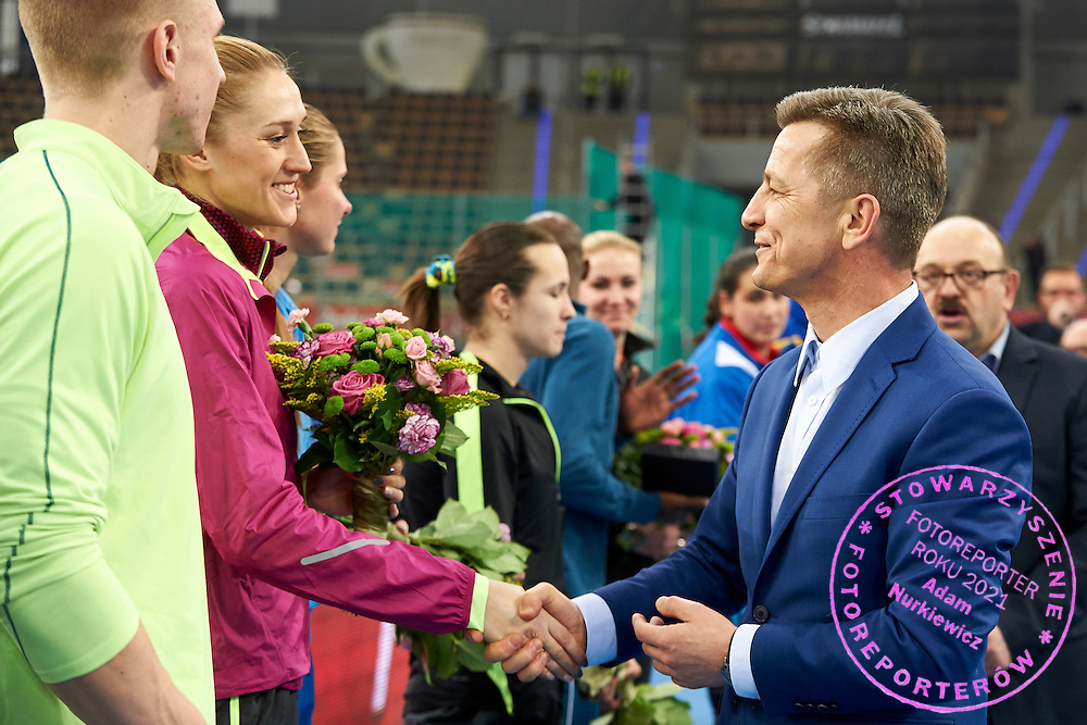 (L) Kamila Licwinko from Poland and (R) Krzysztof Klimczak President Board of Strauss Cafe Poland during athletics meeting Pedro's Cup at Atlas Arena in Lodz, Poland.<br /> <br /> Poland, Lodz, February 17, 2015<br /> <br /> Picture also available in RAW (NEF) or TIFF format on special request.<br /> <br /> For editorial use only. Any commercial or promotional use requires permission.<br /> <br /> Adam Nurkiewicz declares that he has no rights to the image of people at the photographs of his authorship.<br /> <br /> Mandatory credit:<br /> Photo by &copy; Adam Nurkiewicz / Mediasport