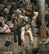 Box at the Theatre' by Hippolyte Bellange (1800-1866) French painter. Chaotic scene with overcrowded Box with audience fighting . Bottom left a top hat is being handed back. Bottom right a drink is being handed up from the promenade level.