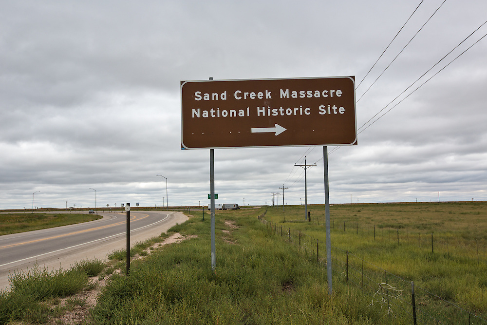 Sign for the Sand Creek Massacre National Historic Site in Colorado.