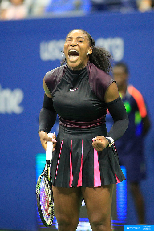 2016 U.S. Open - Day 10  Serena Williams of the United States celebrates a point against Simona Halep of Romania in the Women's Singles Quarterfinal match on Arthur Ashe Stadium on day ten of the 2016 US Open Tennis Tournament at the USTA Billie Jean King National Tennis Center on September 7, 2016 in Flushing, Queens, New York City.  (Photo by Tim Clayton/Corbis via Getty Images)