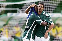 20091129: SAO PAULO, BRAZIL - Palmeiras vs Atletico-MG: Brazilian League 2009. In picture: Cleiton Xavier (Palmeiras) celebrating goal with team mate Vagner Love. PHOTO: CITYFILES