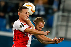 October 4, 2018 - Saint Petersburg, Russia - Aleksandr Anyukov (R) of FC Zenit Saint Petersburg and Jan Boril of SK Slavia Prague vie for a header during the Group C match of the UEFA Europa League between FC Zenit Saint Petersburg and SK Sparta Prague at Saint Petersburg Stadium on October 4, 2018 in Saint Petersburg, Russia. (Credit Image: © Mike Kireev/NurPhoto/ZUMA Press)