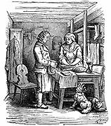 Richard Arkwright (1732-1792) British industrialist and inventor, hearing from a neighbour about clockmaker named Kay living at Warrington. Arkwright and Kay produced model of a spinning machine which was shown at Preston in 1768. Woodcut 1822