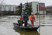 © Licensed to London News Pictures. 10/02/2014. Old Windsor, UK . The Runnymeade on Thames Hotel is surrounded by water and is accessible by boat. Flooding in OLD WINDSOR in Berkshire today 10th February 2014 after the River Thames burst its banks. The Environment Agency has issued 14 Severe Flood Warnings alone the Thames. Photo credit : Stephen Simpson/LNP