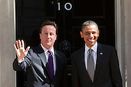 National Pictures.PH: Nick Edwards.President Barack Obama meets Prime Minister David Cameron outside 10 Downing Street in London today,  during the presidents state visit to Britain..25/05/11
