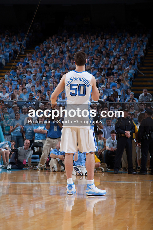 08 March 2009: North Carolina Tar Heels forward Tyler Hansbrough (50) appears in front of the Carolina fans one last time in the Smith Center as a player as he delivers his senior speech after a 79-71 win over the Duke Blue Devils at the Dean Smith Center in Chapel Hill, NC.
