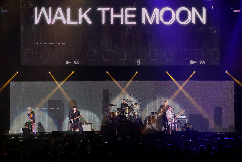 Rock band Walk The Moon perform on stage at the 2018 iHeartRadio ALTer EGO festival at The Forum on Friday, Jan. 19, 2018, in Inglewood, CA. (Photo by Willy Sanjuan/Invision/AP)