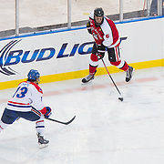 Mike Gunn #6 of the Northeastern Huskies in action during the Frozen Fenway game between The Northeastern Huskies and The UMass Lowell Riverhawks at Fenway Park on January 11, 2014 in Boston, Massachusetts.