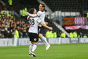 Derby County forward David Nugent (28) scores a goal and celebrates with Derby County midfielder Harry Wilson (7) 2-1 during the EFL Sky Bet Championship match between Derby County and Brentford at the Pride Park, Derby, England on 22 September 2018.