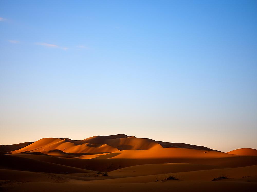 MERZOUGA, MOROCCO - CIRCA MAY 2018: Morning golden light  over the dunes of the Sahara Desert